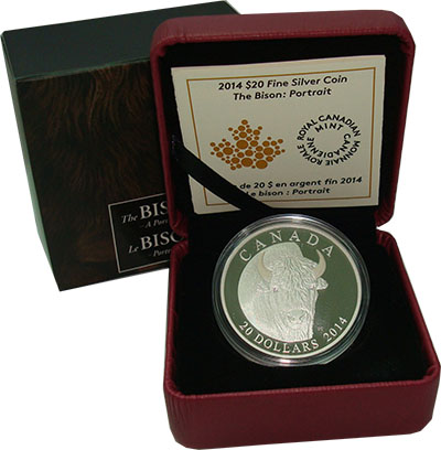 Изображение Подарочные монеты Канада 20 долларов 2014 Серебро Proof `Серия ``Бизон`` - Г