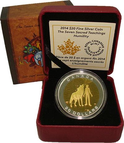 Изображение Подарочные монеты Канада 20 долларов 2014 Серебро Proof `Серия ``Семь священ