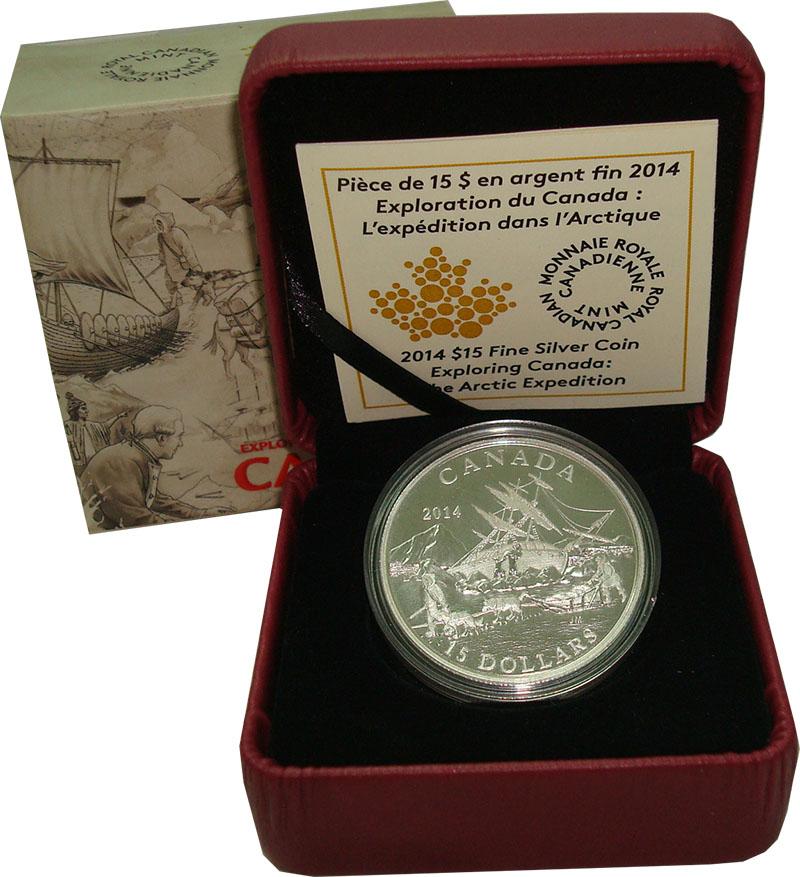 Изображение Подарочные монеты Канада 15 долларов 2014 Серебро Proof `Серия ``Исследовани