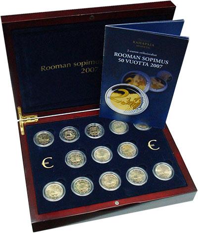 Изображение Подарочные монеты Европа Римский договор 2007 Биметалл UNC Первый общеевропейск