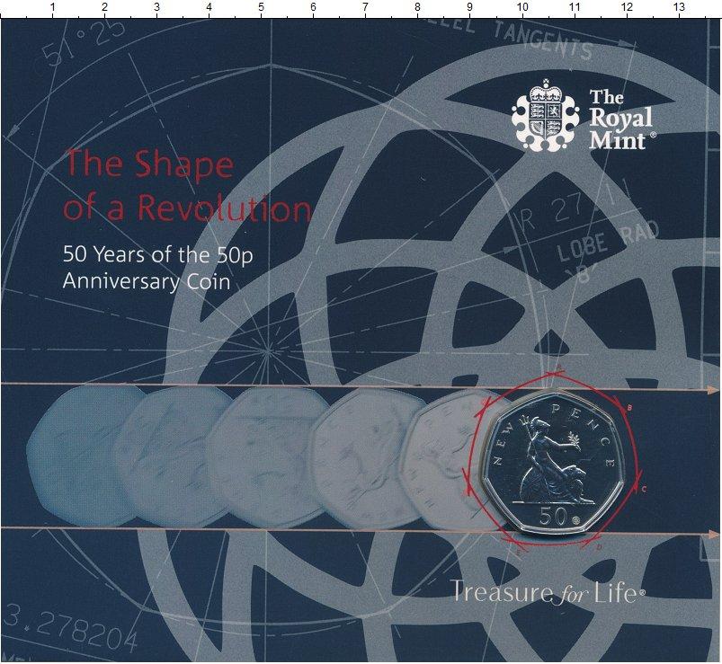 Изображение Подарочные монеты Великобритания 50 пенсов 2019 Медно-никель UNC 50 лет 50 пенсам. Мо