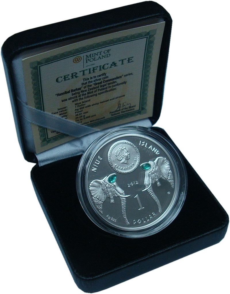 Изображение Подарочные монеты Ниуэ 1 доллар 2012 Серебро Proof Ганнибал. Тираж до 5