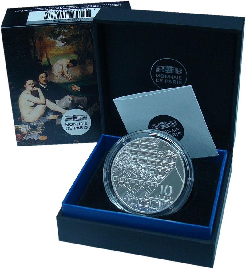 Изображение Подарочные монеты Франция 10 евро 2017 Серебро Proof Завтрак на траве. Ти