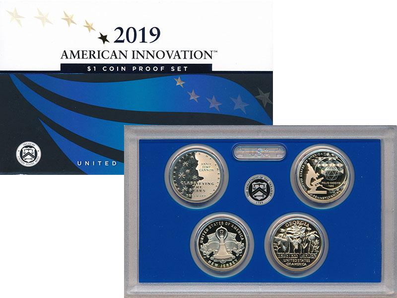 Изображение Подарочные монеты США 1 доллар 2019 Латунь Proof Американские инновац