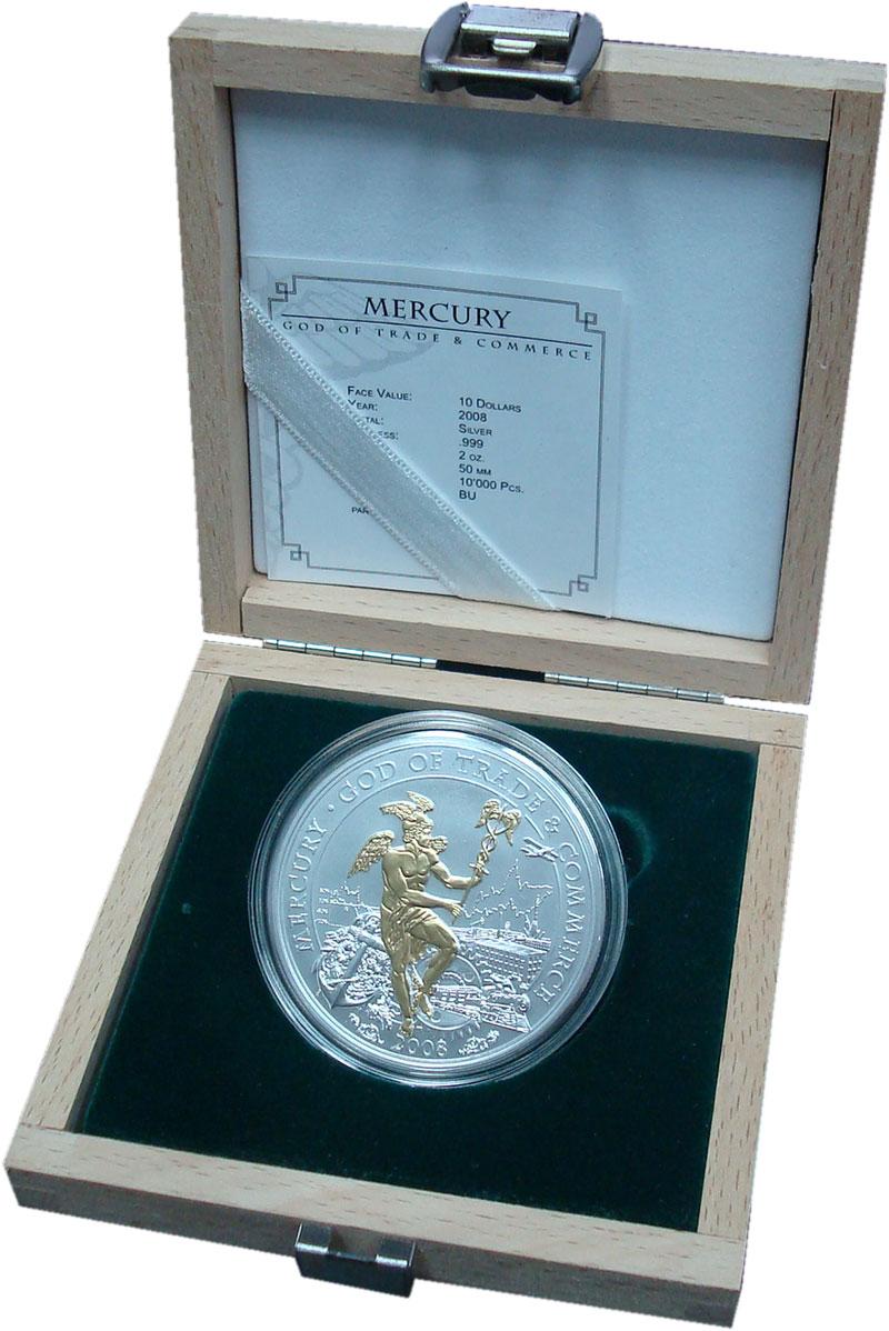 Изображение Подарочные монеты Острова Кука 10 долларов 2008 Серебро Proof Позолота.  Елизавета
