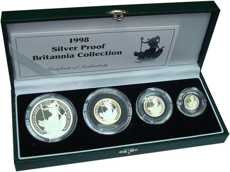 Изображение Подарочные монеты Великобритания Британия 1998 Серебро Proof- В набор входят четыр