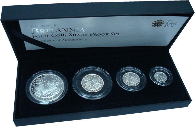 Изображение Подарочные монеты Великобритания Британия 2009 Серебро Proof- В набор входят четыр