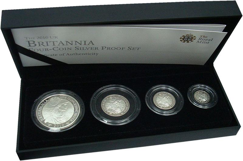 Изображение Подарочные монеты Великобритания Британия 2010 Серебро Proof- В набор входят четыр