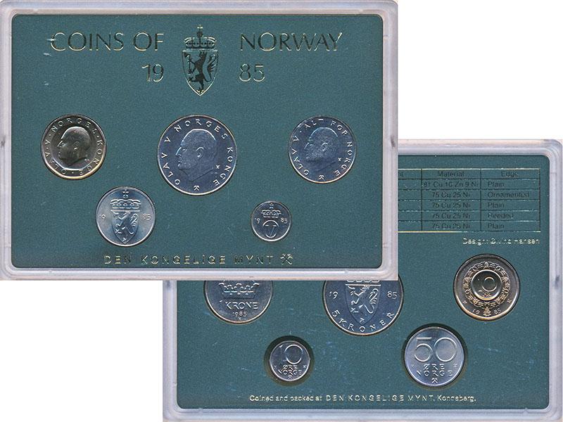 Изображение Подарочные монеты Норвегия Набор 1985 года 1985  UNC В наборе 5 монет ном