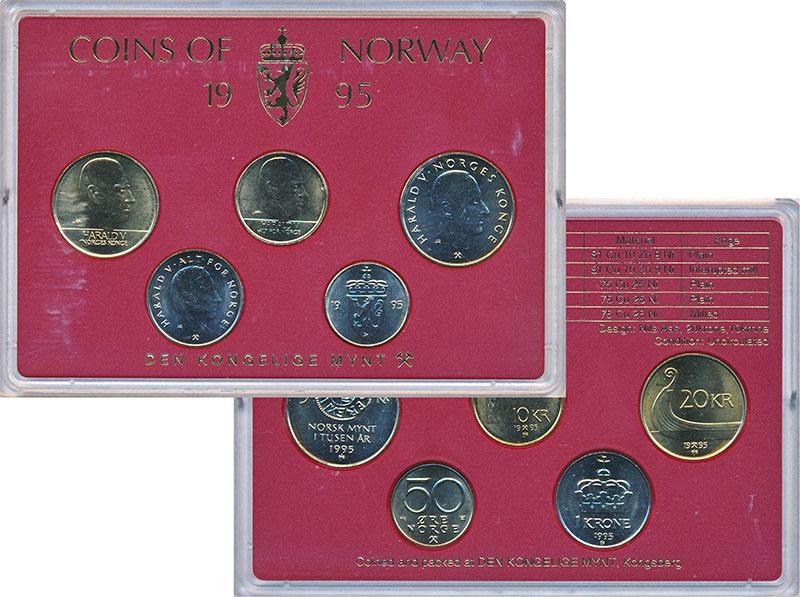 Изображение Подарочные монеты Норвегия Набор 1995 года 1995  UNC В наборе 5 монет ном