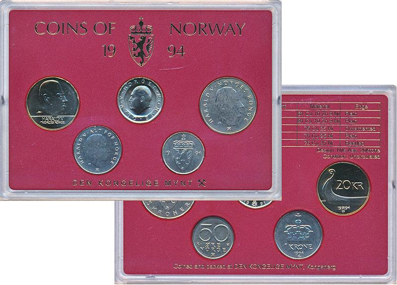 Изображение Подарочные монеты Норвегия Набор 1994 года 1994  UNC В наборе 5 монет ном