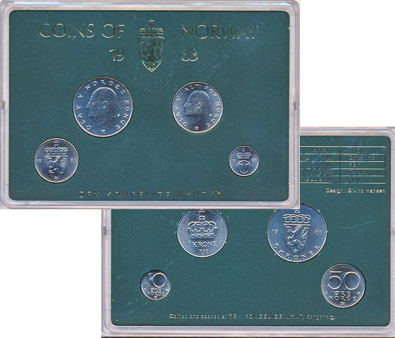 Изображение Подарочные монеты Норвегия Набор 1983 года 1983  UNC В наборе 4 монеты но