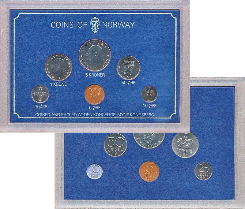 Изображение Подарочные монеты Норвегия Набор 1980 года 1980  UNC В наборе 6 монет ном