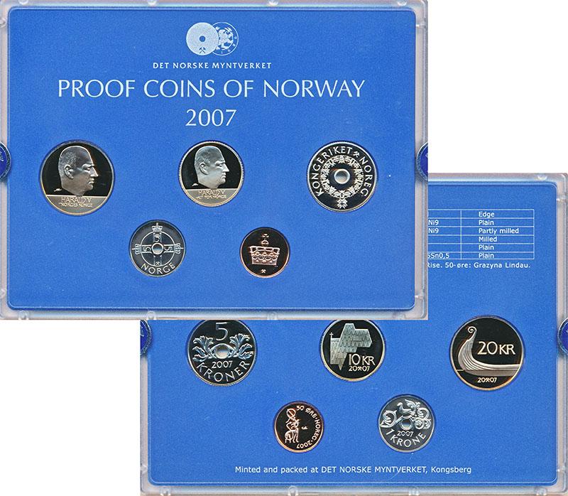 Изображение Подарочные монеты Норвегия Набор 2007 года 2007  Proof В наборе 5 монет ном