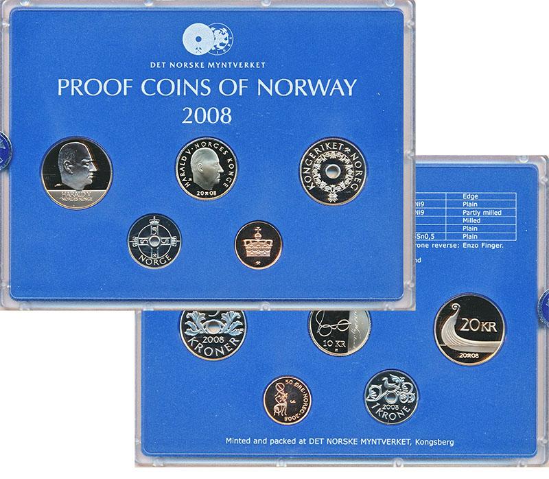 Изображение Подарочные монеты Норвегия Набор 2008 года 2008  Proof В наборе 5 монет ном