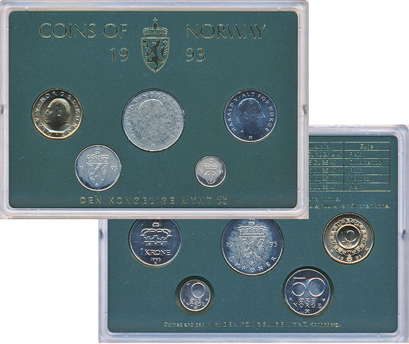 Изображение Подарочные монеты Норвегия Набор 1993 года 1993  UNC В наборе 5 монет ном