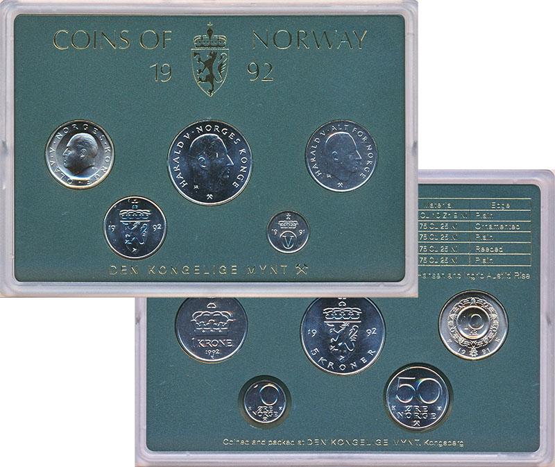 Изображение Подарочные монеты Норвегия Набор 1992 года 1992  UNC В наборе 5 монет ном