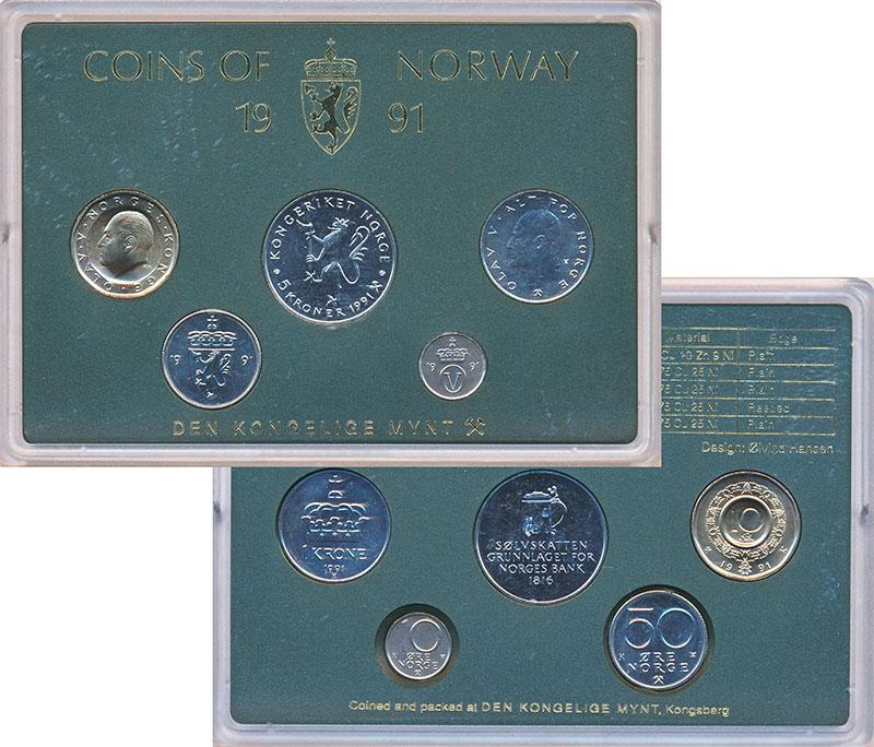 Изображение Подарочные монеты Норвегия Набор 1991 года 1991  UNC В наборе 5 монет ном