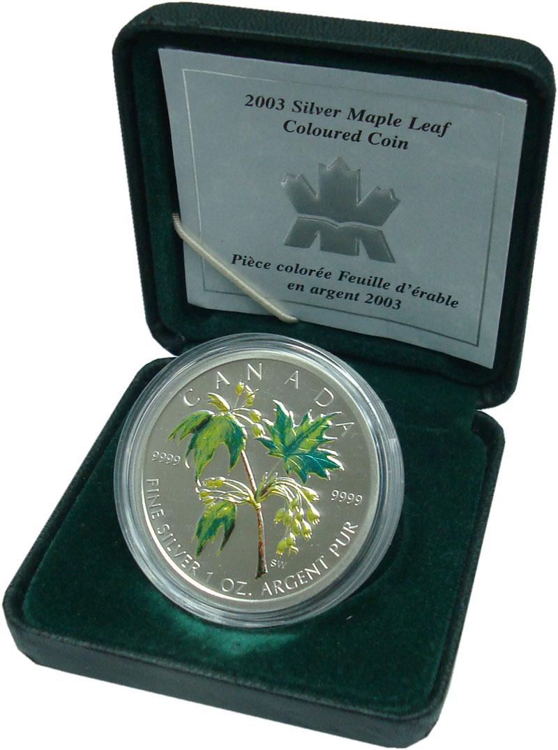 Изображение Подарочные монеты Канада 5 долларов 2003 Серебро UNC Кленовый лист, цветн