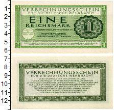 Банкнота Третий Рейх 1 марка 1944 UNC фото