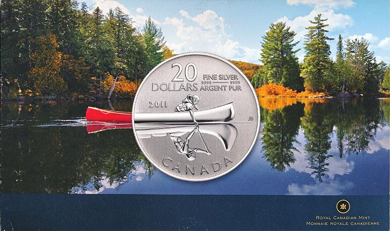 Изображение Подарочные монеты Канада 20 долларов 2011 Серебро BUNC Серебро 999. 7.96гр.