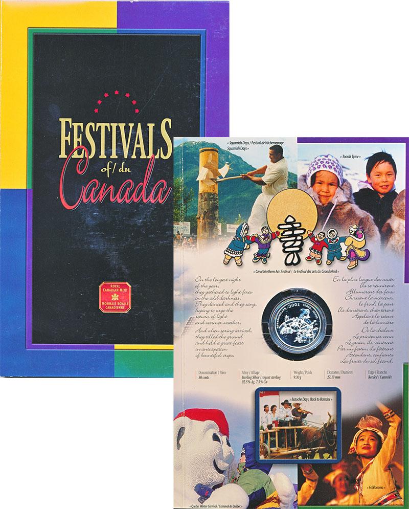 Изображение Подарочные монеты Канада 50 центов 2001 Серебро Proof Фольклерный фестивал