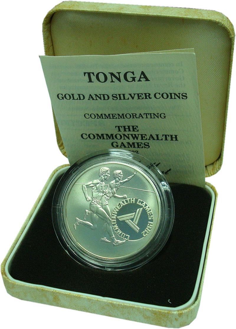 Изображение Подарочные монеты Тонга 10 паанга 1982 Серебро Proof- Игры содружества. Ор