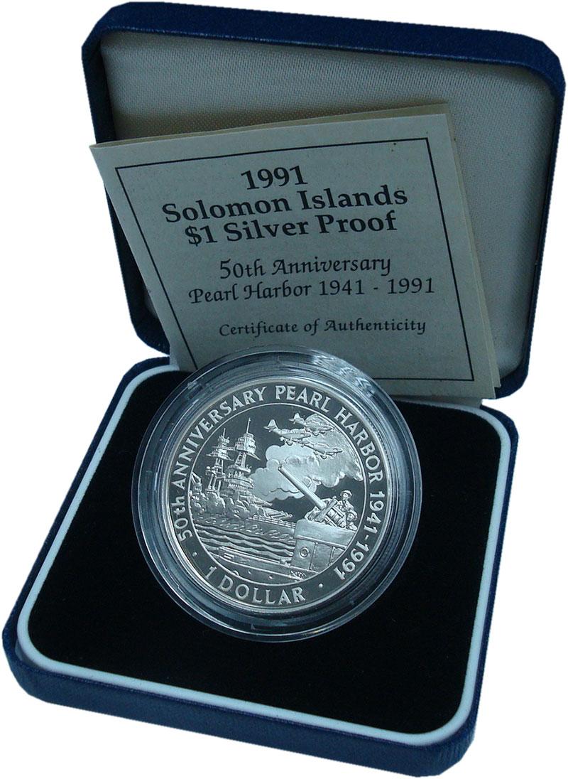 Изображение Подарочные монеты Соломоновы острова 1 доллар 1991 Серебро Proof Перл Харбор 50 лет.