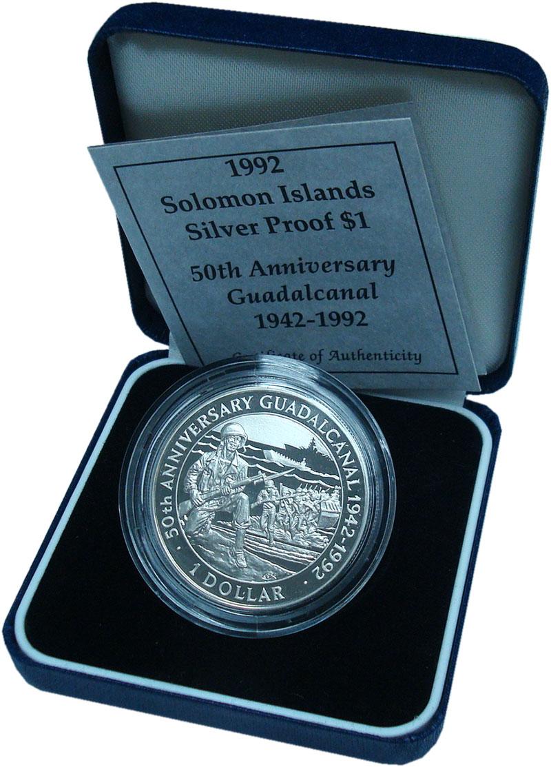 Изображение Подарочные монеты Соломоновы острова 1 доллар 1992 Серебро Proof 50 лет битве за Гуад