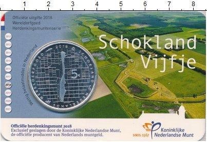 Изображение Мелочь Нидерланды 5 евро 2018 Посеребрение UNC Схокланд