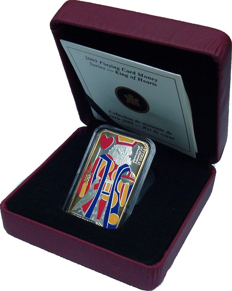 Изображение Подарочные монеты Канада 15 долларов 2009 Серебро Proof- Карты. Король червей