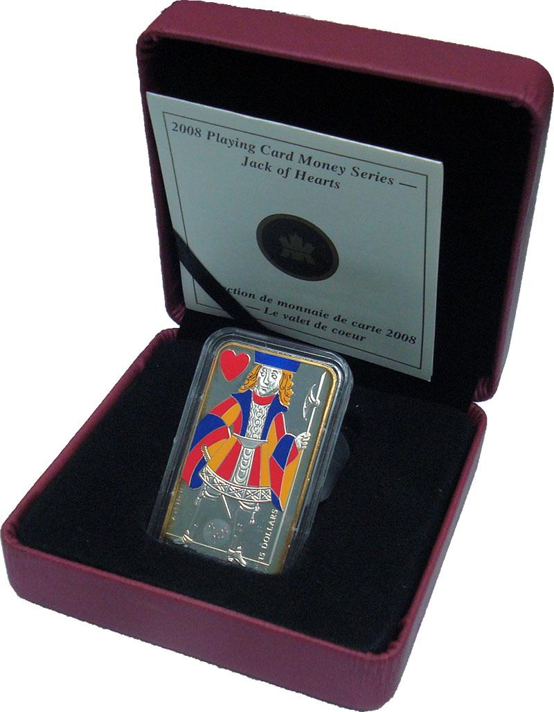 Изображение Подарочные монеты Канада 15 долларов 2008 Серебро Proof- Карты. Валет червей.