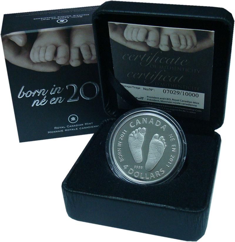 Изображение Подарочные монеты Канада 4 доллара 2011 Серебро Proof Рождённым в 2011 год