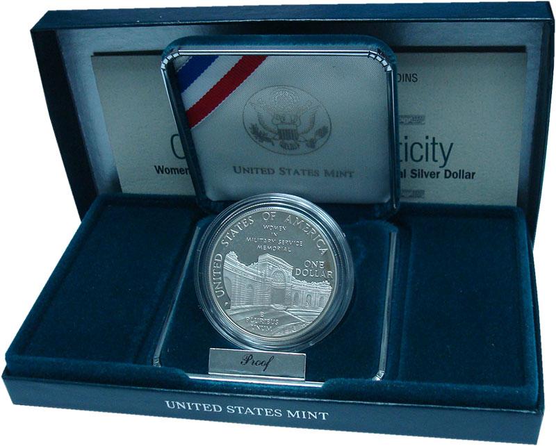 Изображение Подарочные монеты США 1 доллар 1994 Серебро Proof- Женщины в армии. Сер