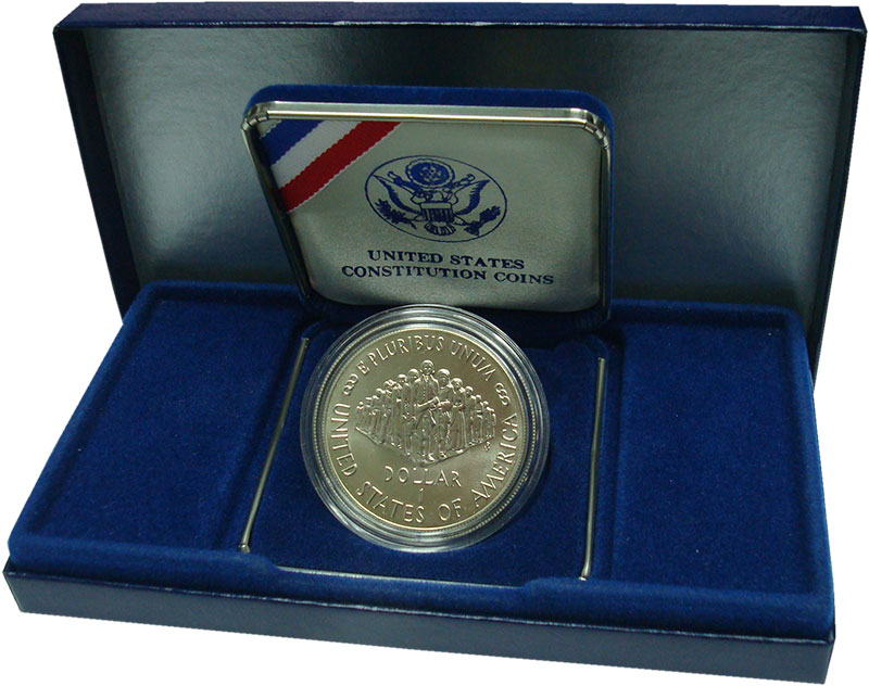 Изображение Подарочные монеты США 1 доллар 1987 Серебро UNC 200 лет Конституции