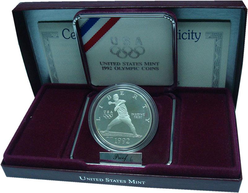 Изображение Подарочные монеты США 1 доллар 1992 Серебро Proof- Олимпийская сборная