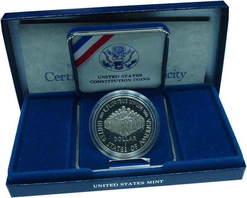 Изображение Подарочные монеты США 1 доллар 1987 Серебро Proof- 200 лет Конституции