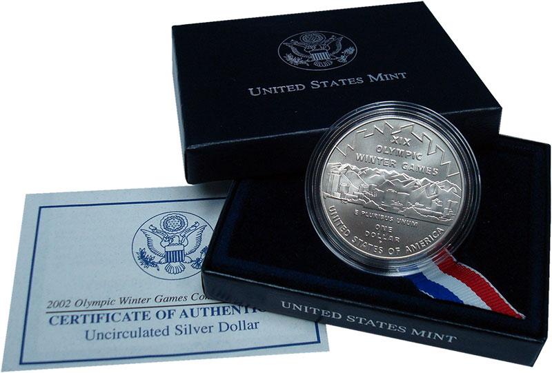 Изображение Подарочные монеты США 1 доллар 2002 Серебро UNC Зимние олимпийские и