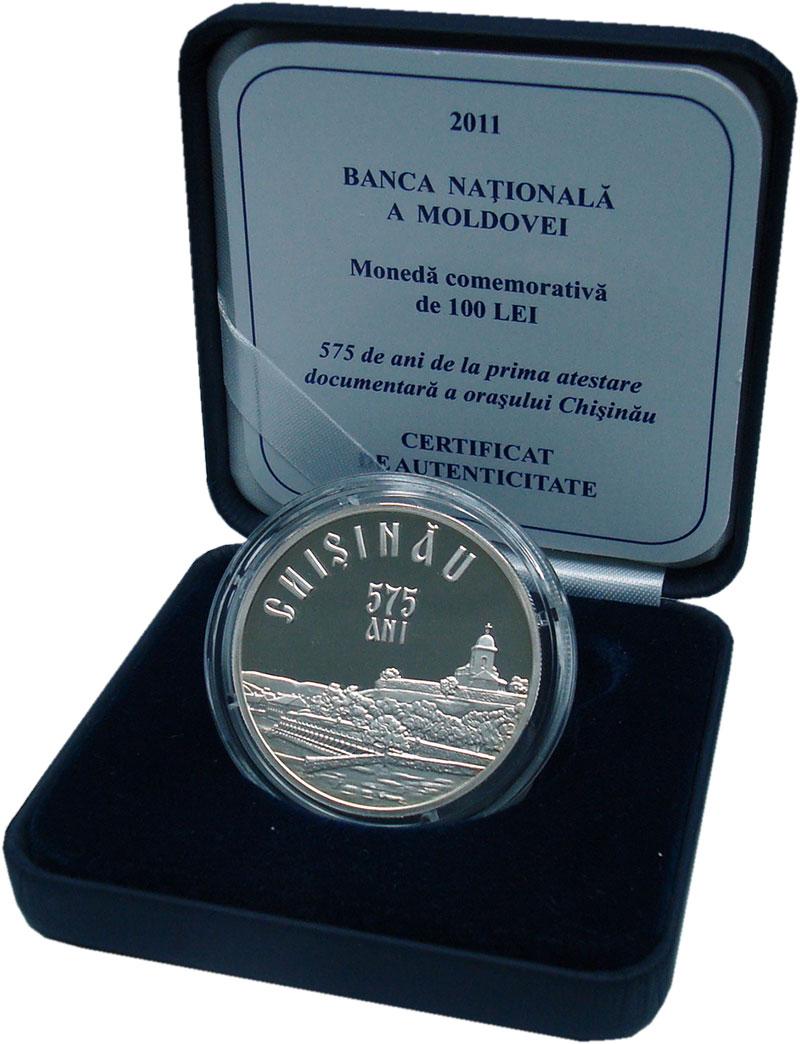 Изображение Подарочные монеты Молдавия 100 лей 2011 Серебро Proof 575 лет Кишинёву. Се