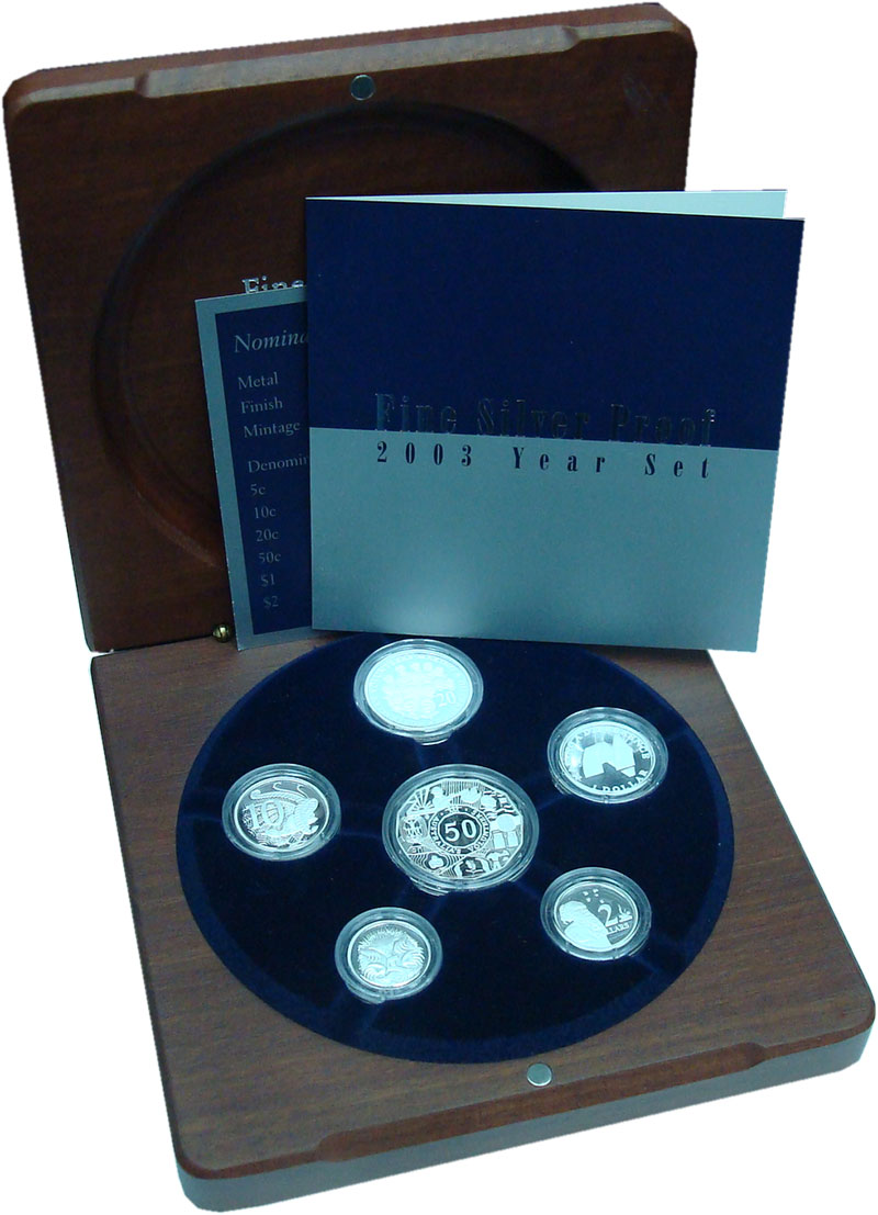 Изображение Подарочные монеты Австралия Набор 2003 года Пруф серебро 2003 Серебро Proof В набор входят шесть