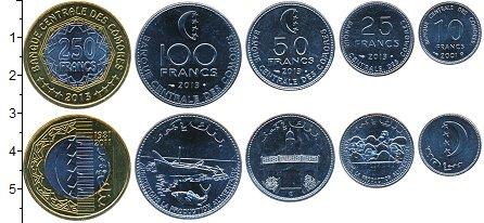 Изображение Наборы монет Коморские острова 10 франков 2013  UNC В наборе 5 монет ном