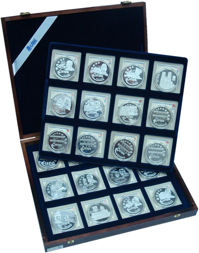 Изображение Подарочные монеты Германия Первые Евро-монеты 0 Серебро Proof UNUSUAL. Набор из 24
