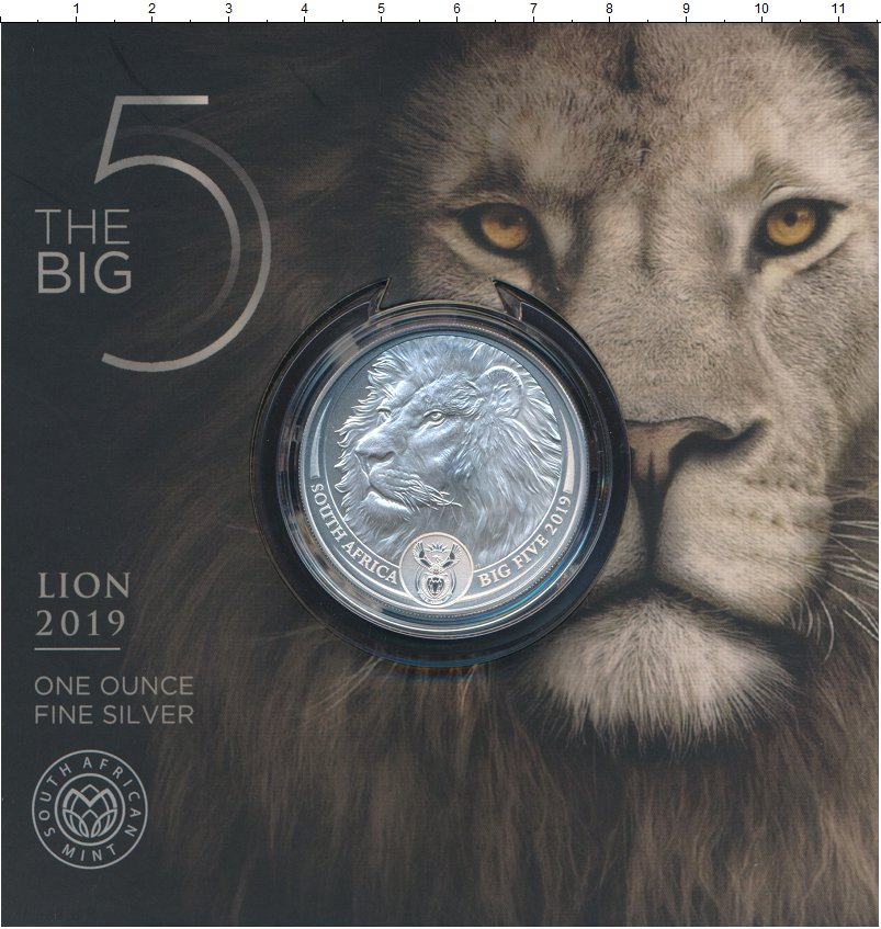 Изображение Подарочные монеты ЮАР 5 рандов 2019 Серебро Proof Большая пятерка - ЛЕ