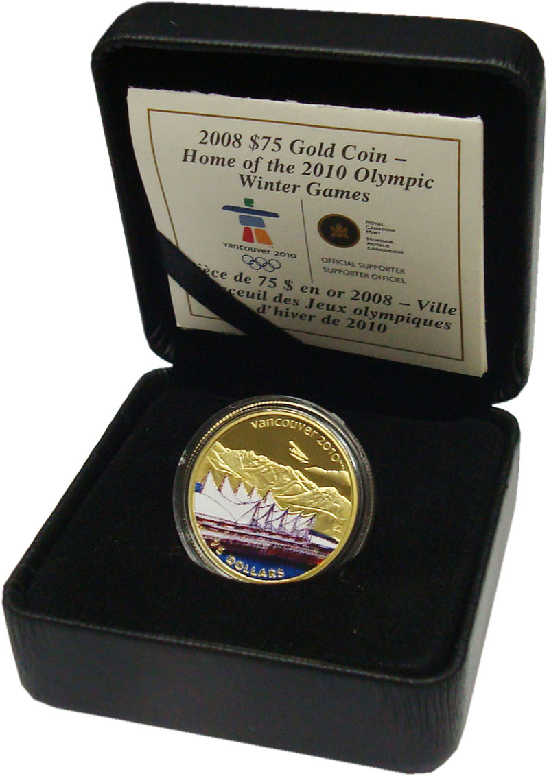 Изображение Подарочные монеты Канада 75 долларов 2008 Золото Proof Монета посвящена Оли