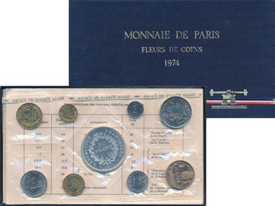 Изображение Подарочные монеты Франция Выпуск монет 1974 года 1974  UNC Набор посвящён выпус