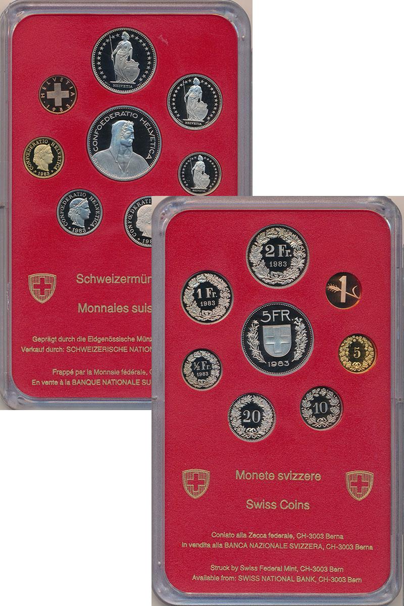 Изображение Подарочные монеты Швейцария Набор 1983 года 1983  Proof В набор входят восем
