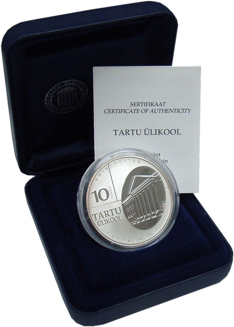 Изображение Подарочные монеты Эстония 10 крон 2002 Серебро Proof 370 лет Тартускому у