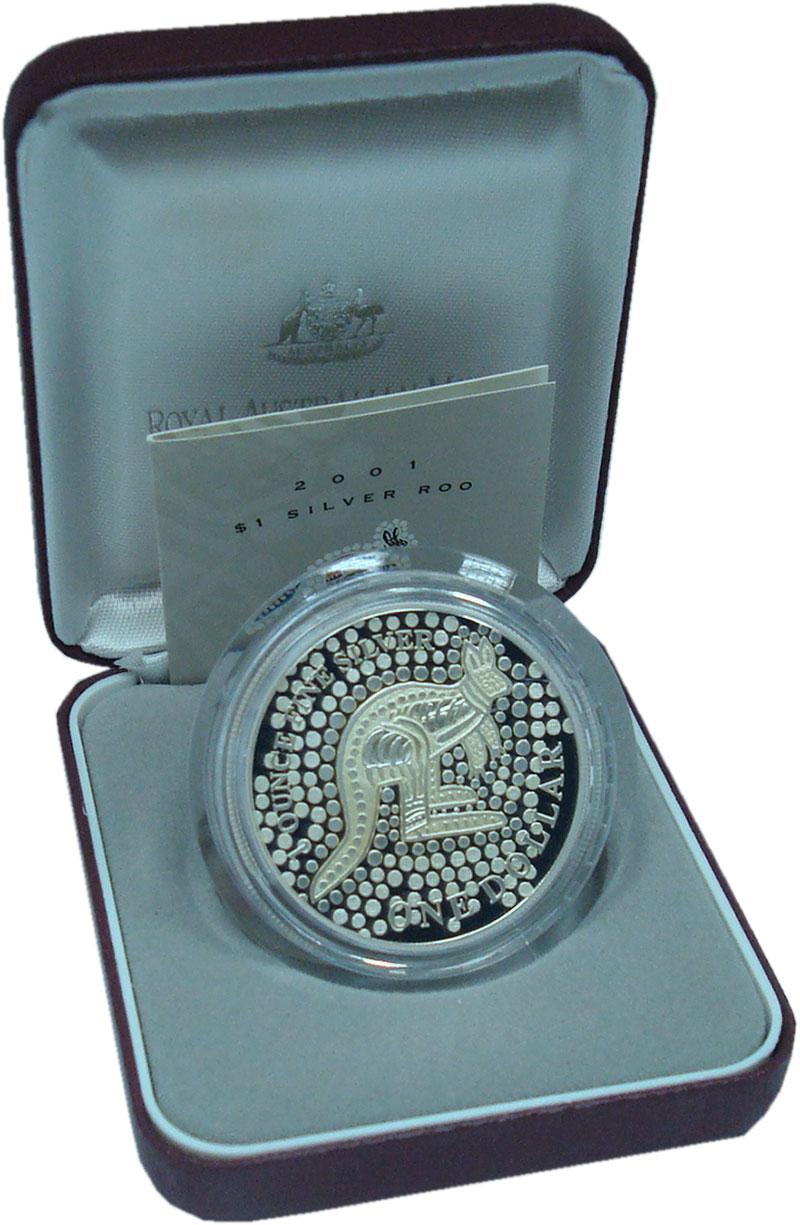 Изображение Подарочные монеты Австралия 1 доллар 2001 Серебро Proof- Кенгуру. Оригинальна
