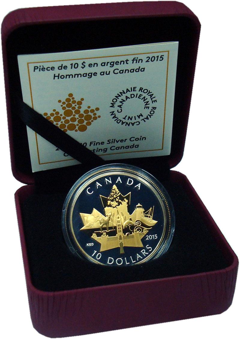 Изображение Подарочные монеты Канада 10 долларов 2015 Серебро Proof Кленовый лист с симв