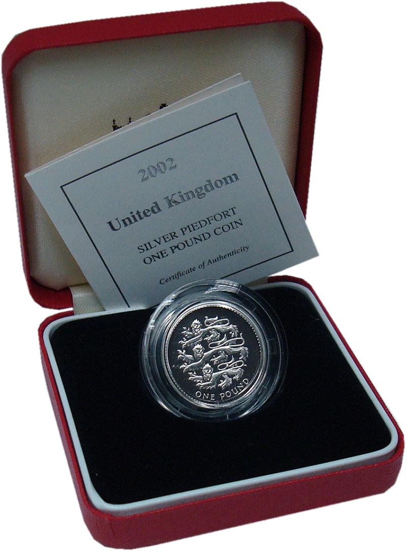 Изображение Подарочные монеты Великобритания 1 фунт 2002 Серебро Proof Львы Плантагенетов.